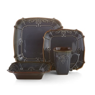 American Atelier Blue Reactive Earthenware 16-piece Dinnerware Set