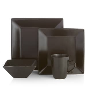 American Atelier Harmony Black Earthenware 16-piece Dinnerware Set