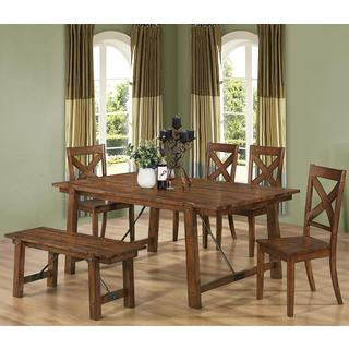 Vintage Dark Oak Wood Plank Dining Set