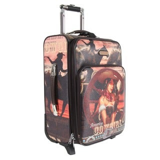 Nicole Lee Cowgirl Wheel Print 20-inch Expandable Rolling Carry-on