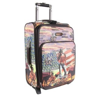 Nicole Lee Cowgirl Flag Print 20-inch Expandable Rolling Carry-on
