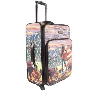 Nicole Lee Cowgirl Flag Print 22-inch Expandable Rolling Carry-on
