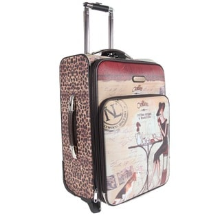 Nicole Lee Coffee Print 22-inch Expandable Rolling Carry-on