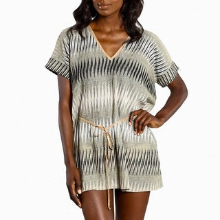 Jordan Taylor Women's Brown/ Taupe Zig-zag Pattern Caftan Cover-up Top