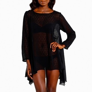 Jordan Taylor Women's Black Laser-cut Sheer Tunic