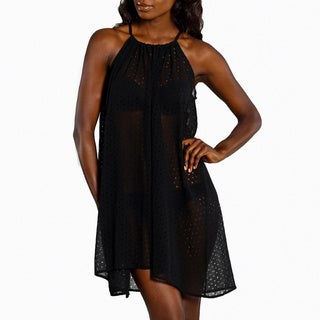 Jordan Taylor Women's Black Sheer Laser-cut Halter Dress