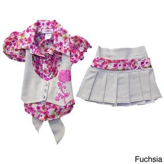 Girls Double-breasted Vest and Khaki Skirt Set