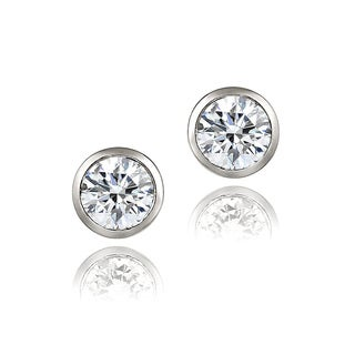 Zirconia Ice Sterling Silver 6mm Bezel-set Martini Cubic Zirconia Stud Earrings