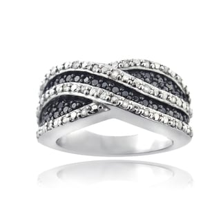 DB Designs Sterling Silver 1/2ct Black and White Diamond Crossover Wave Band Ring (I-J, I2-I3)