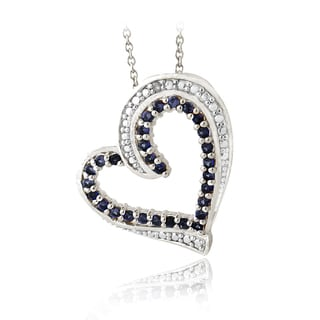 Glitzy Rocks Sterling Silver 7/8ct TGW Sapphire and Diamond Accent Heart Necklace