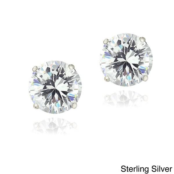 Zirconia Ice Sterling Silver 2ct TGW Round Solitaire Swarovski Zirconia Stud Earrings