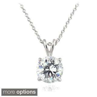 Zirconia Ice Sterling Silver 1ct TGW Round Solitaire Swarovski Zirconia Necklace
