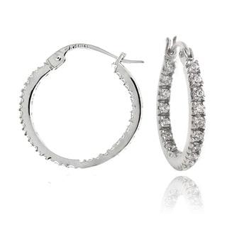 Zirconia Ice Sterling Silver 18mm Inside Out Hoop Swarovski Zirconia Earrings