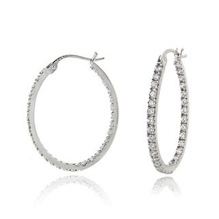 Zirconia Ice Sterling Silver 25mm Oval Hoop Swarovski Zirconia Earrings