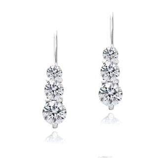 Zirconia Ice Sterling Silver Three Stone Drop Swarovski Zirconia Earrings