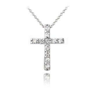 Zirconia Ice Sterling Silver Cross Swarovski Zirconia Necklace