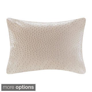 Madison Park Ostrich Faux Leather Decorative Feather and Down Filled Throw Pillow