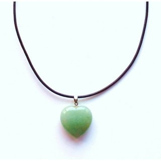 Every Morning Design Green Jade Heart On Leather Necklace