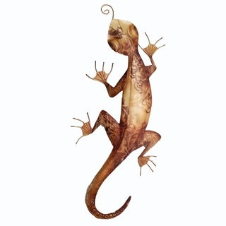 Hand-painted Brown Metal and Capiz Gecko Wall Art , Handmade in Philippines