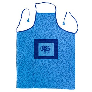 Hand-block Indigo Elephant Design Cotton Fabric Apron (India)
