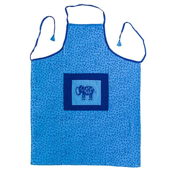 Hand-block Indigo Elephant Design Cotton Fabric Apron (India)