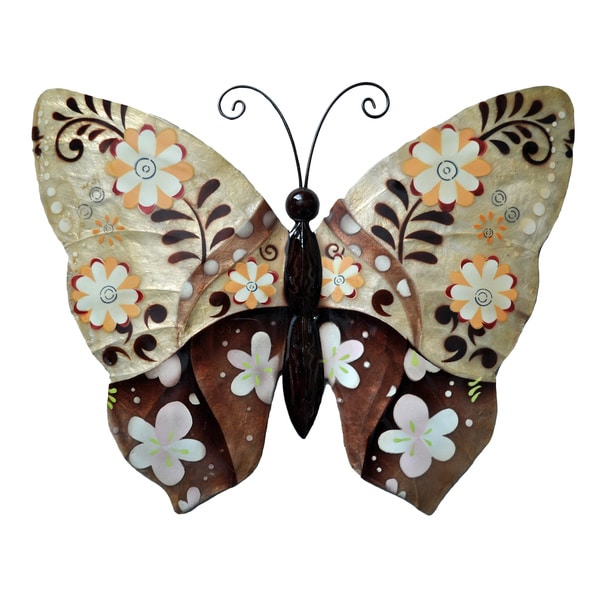 butterfly wall art metal capiz floral handmade living dining entrance bath decor. Black Bedroom Furniture Sets. Home Design Ideas
