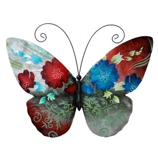Hand-painted Multi-colored Metal and Capize Butterfly Wall Art , Handmade in Philippines