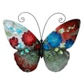 Hand-painted Multi-colored Metal and Capize Butterfly Wall Art (Philippines)