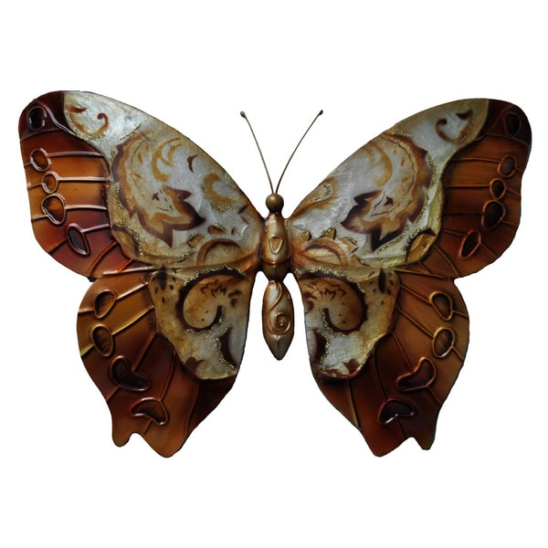 Painted Copper Multi Metal And Capiz Butterfly Wall Art Philippines