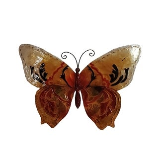 Hand-painted Goldtone/ Red Metal and Capiz Butterfly Wall Art (Philippines)