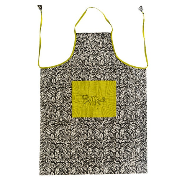 Hand-block Jungle Cat Design Cotton Fabric Apron (India)