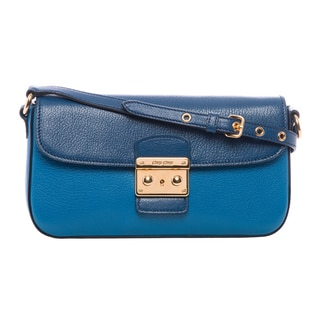 Miu Miu 'Madras' Blue Bicolor Leather Shoulder Bag