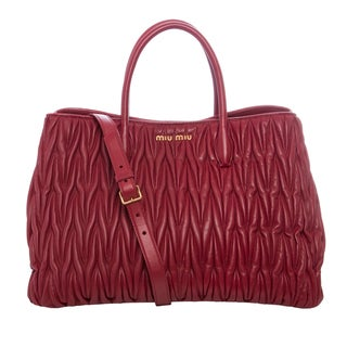 Miu Miu 'Matelass�' Red Leather Double Handle Tote