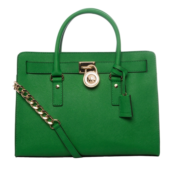 MICHAEL Michael Kors 'Hamilton' Palm Green Leather East/West Satchel