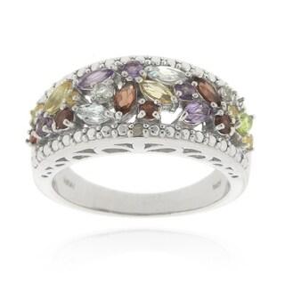 Glitzy Rocks Silvertone 1 1/6ct TGW Multi Gemstone Diamond Accent Ring