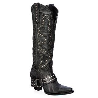Women's 'Stud Rocker' Black Leather Cowboy Boots