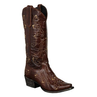 Women's 'Alyssa' Brown Leather Goldtone Studded Cowboy Boots