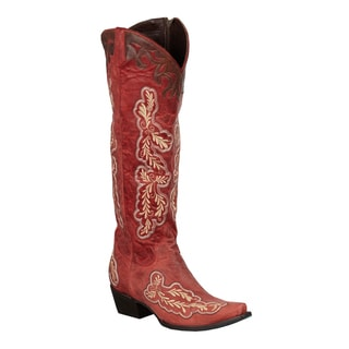 Women's 'Amber' Red Leather Floral-embroidered Cowboy Boots