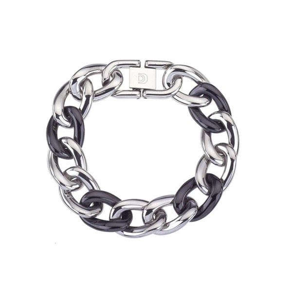 Black Ceramic and Stainless Steel Large Link Fashion Bracelet