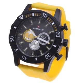 Airwalk Men's Multi-Dial Analog Watch with Yellow Rubber Strap