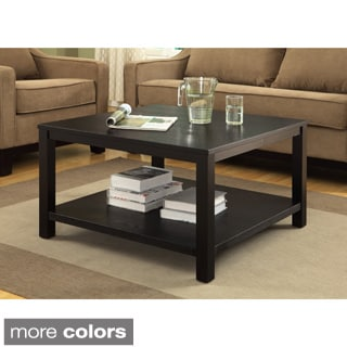 Square Coffee Table w/ Dual Shelves Solid Wood Legs & Wood Grain Finish