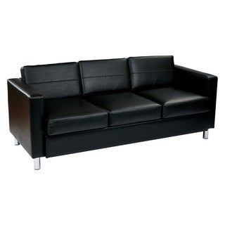 Pacific EasyCare Faux Leather Sofa Couch w/ Spring Seats and Silver Color Legs