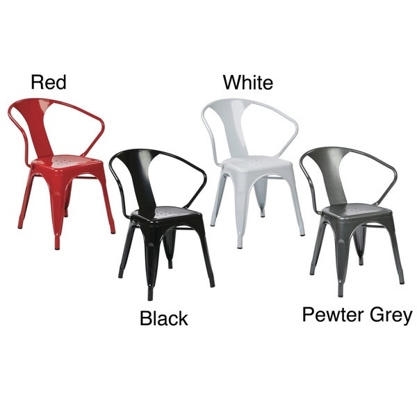 Vintage French-Industrial Modern Style Galvanized Sheet Metal Cafe & Bistro Arm Chair (2 Pack) 12820205