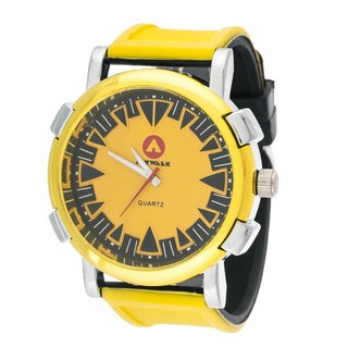 Airwalk Round Sport Watch with Yellow Rubber Strap
