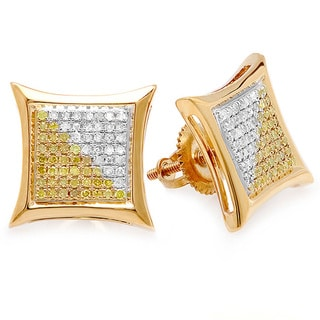 Goldplated Sterling Silver 3/8ct TDW White and Yellow Diamond Micro Pave Stud Earrings (I-J, I2-I3)