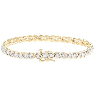 14k Yellow Gold 3ct Two-tone Diamond Bracelet (G-H I1-I2)