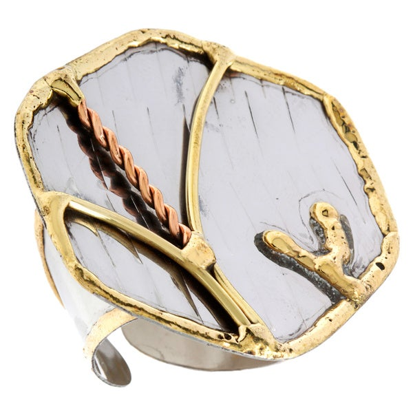 Handmade Mixed Metal Abstract Fashion Ring (India)