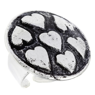 Handmade Antiqued Silverplated Multi-heart Fashion Ring (India)