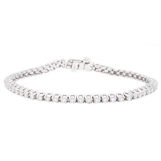 14k White Gold 3ct Round Diamond Bracelet