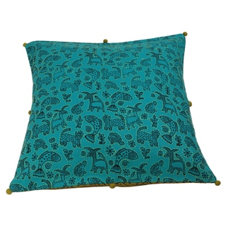 Handmade 16-inch Animal Jaal Print Cushion Cover (India)